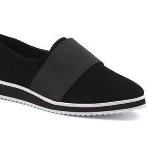 Karl Lagerfeld Suede/Elastic b & w Kristi sneaker